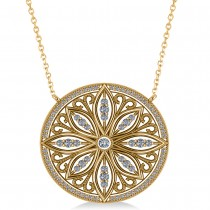 Antique Style Flower Diamond Pendant Necklace 14k Yellow Gold (0.77ct)