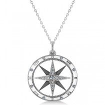 Compass Necklace Pendant For Men Diamond Accented 14k White Gold (0.38ct)