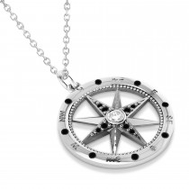 Compass Pendant For Men Black & White Diamond Accented 14k White Gold (0.38ct)