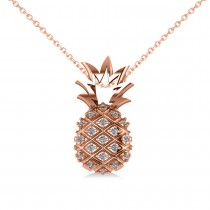 Diamond Pineapple Fashion Pendant Necklace 14K Rose Gold (0.10ct)