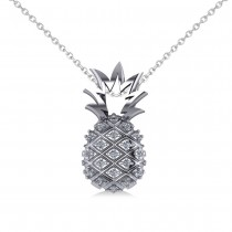 Diamond Pineapple Fashion Pendant Necklace 14K White Gold (0.10ct)