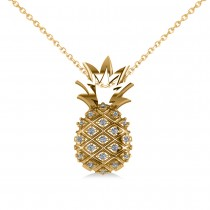 Diamond Pineapple Fashion Pendant Necklace 14K Yellow Gold (0.10ct)