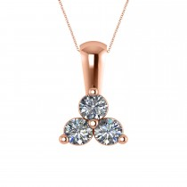 Three Stone Diamond Pendant Necklace 14k Rose Gold (0.50ct)
