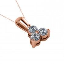 Three Stone Diamond Pendant Necklace 14k Rose Gold (0.50ct)