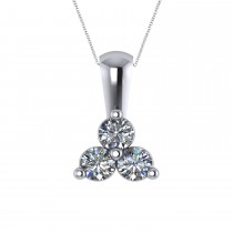 Three Stone Diamond Pendant Necklace 14k White Gold (0.50ct)