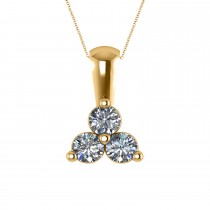 Three Stone Diamond Pendant Necklace 14k Yellow Gold (0.50ct)