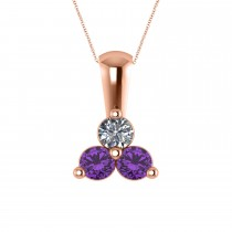 Three Stone Diamond & Amethyst Pendant Necklace 14k Rose Gold (0.50ct)