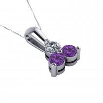 Three Stone Diamond & Amethyst Pendant Necklace 14k White Gold (0.50ct)