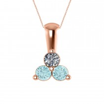 Three Stone Diamond & Aquamarine Pendant Necklace 14k Rose Gold (0.50ct)
