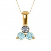Three Stone Diamond & Aquamarine Pendant Necklace 14k Yellow Gold (0.50ct)