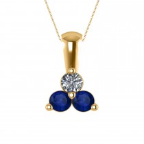 Three Stone Diamond & Blue Sapphire Pendant Necklace 14k Yellow Gold (0.50ct)