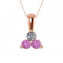 Three Stone Diamond & Pink Sapphire Pendant Necklace 14k Rose Gold (0.50ct)