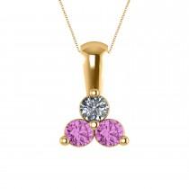 Three Stone Diamond & Pink Sapphire Pendant Necklace 14k Yellow Gold (0.50ct)