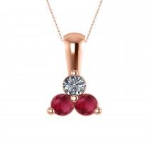 Three Stone Diamond & Ruby Pendant Necklace 14k Rose Gold (0.50ct)