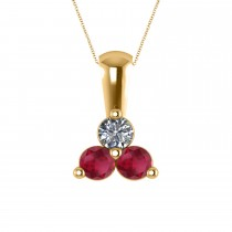 Three Stone Diamond & Ruby Pendant Necklace 14k Yellow Gold (0.50ct)