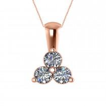 Three Stone Triangle Diamond Pendant Necklace 14k Rose Gold (1.00ct)