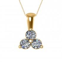 Three Stone Diamond Pendant Necklace 14k Yellow Gold (1.00ct)