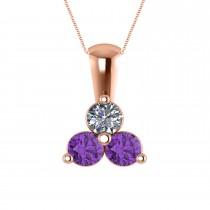 Three Stone Triangle Diamond & Amethyst Pendant Necklace 14k Rose Gold (1.00ct)
