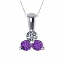 Three Stone Diamond & Amethyst Pendant Necklace 14k White Gold (1.00ct)