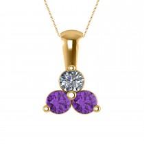 Three Stone Triangle Diamond & Amethyst Pendant Necklace 14k Yellow Gold (1.00ct)