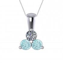 Three Stone Diamond & Aquamarine Pendant  14k White Gold (1.00ct)