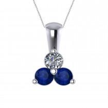 Three Stone Diamond & Blue Sapphire Pendant 14k White Gold (1.00ct)