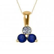 Three Stone Triangle Diamond & Blue Sapphire Pendant Necklace 14k Yellow Gold (1.00ct)
