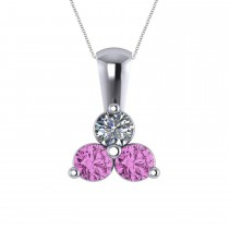 Three Stone Diamond & Pink Sapphire Pendant 14k White Gold (1.00ct)