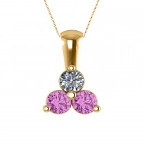 Three Stone Diamond & Pink Sapphire Pendant 14k Yellow Gold (1.00ct)