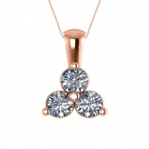 Three Stone Diamond Pendant Necklace 14k Rose Gold (1.50ct)