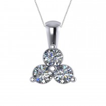 Three Stone Diamond Pendant Necklace 14k White Gold (1.50ct)