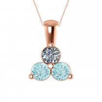 Three Stone Diamond & Aquamarine Pendant Necklace 14k Rose Gold (1.50ct)