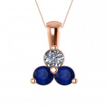 Three Stone Diamond & Blue Sapphire Pendant Necklace 14k Rose Gold (1.50ct)