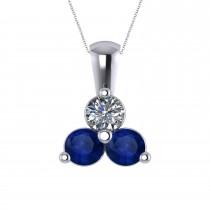 Three Stone Diamond & Blue Sapphire Pendant 14k White Gold (1.50ct)