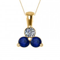 Three Stone Diamond & Blue Sapphire Pendant 14k Yellow Gold (1.50ct)
