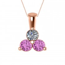 Three Stone Diamond & Pink Sapphire Pendant Necklace 14k Rose Gold (1.50ct)