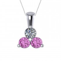 Three Stone Diamond & Pink Sapphire Pendant 14k White Gold (1.50ct)