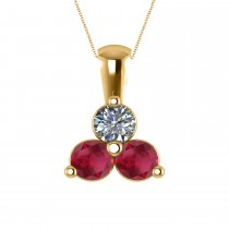 Three Stone Diamond & Ruby Pendant Necklace 14k Yellow Gold (1.50ct)