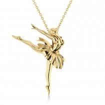 Graceful Ballerina Pose Pendant Necklace 14k Yellow Gold
