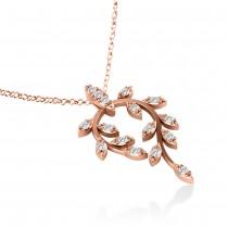 Diamond Vine Leaf Pendant Necklace 14k Rose Gold (0.24ct)