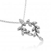 Diamond Vine Leaf Pendant Necklace 14k White Gold (0.24ct)