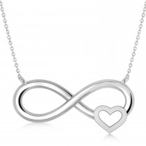 Infinity & Heart Pendant Necklace 14k White Gold