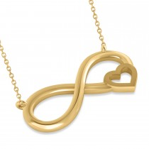 Infinity & Heart Pendant Necklace 14k Yellow Gold