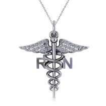 Diamond Caduceus RN Medical Symbol Pendant 14k White Gold (0.13ct)
