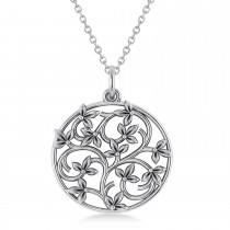 Multi Leaf Vines Center Bulb Pendant Necklace 14k White Gold