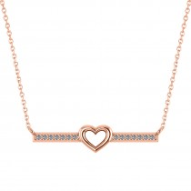 Diamond Bar Pendant Necklace w/Heart 14K Rose Gold (0.21ct)