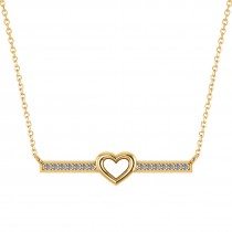 Diamond Bar Pendant Necklace w/Heart 14K Yellow Gold (0.21ct)