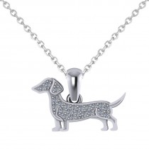 Diamond Accented Dog Pendant Necklace 14K White Gold (0.21ct)