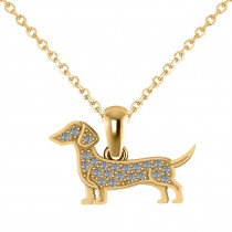 Diamond Accented Dog Pendant Necklace 14K Yellow Gold (0.21ct)