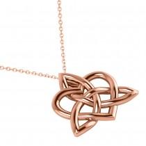 Celtic Trinity Knot Heart Pendant Necklace 14K Rose Gold